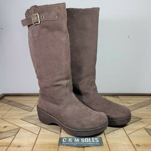 Crocs Cobbler High Boot Brown Suede Leather Buckle Knee High 11553
